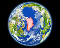 Greenland in red from space Royalty Free Stock Photography