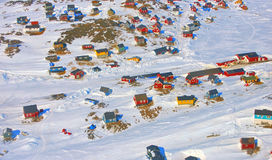Greenland village. Colorful houses in the Kulusuk village, Greenland Royalty Free Stock Image