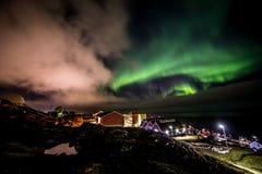 Greenlandic βόρεια φω'τα στοκ εικόνα