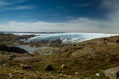 Greenlandic фронт ледника ледяной шапки около пункта 660, Kangerlussuaq, Гренландия стоковое изображение