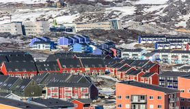Greenlandic colorful houses standing on the rocky hills, Nuuk ci Royalty Free Stock Photo