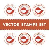 Greenlandic flag rubber stamps set. National flags grunge stamps. Country round badges collection Stock Photography