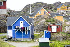 Greenlandic houses between rocks, Sisimiut stock photos