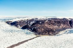 Free Greenlandic Melting Ice Sheet Glacier Aerial View From The Plane, Near Kangerlussuaq, Greenland Stock Photos - 156618263