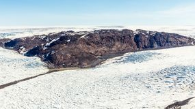Free Greenlandic Melting Ice Sheet Glacier Aerial View From The Plane, Near Kangerlussuaq, Greenland Royalty Free Stock Images - 156618299