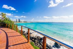 Coolangatta beach on a clear day looking towards Kirra Beach on the Gold Coast stock images
