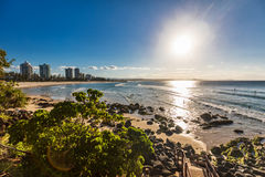 Greenmount beach during sunset on Queensland`s Gold Coast, Austr Stock Images