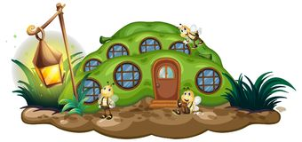 Greenpea house with bees in garden. Illustration stock illustration