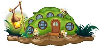 Greenpea hus med bin i trädgård stock illustrationer