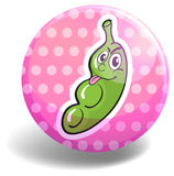 Greenpea on pink badge Royalty Free Stock Image