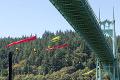 Greenpeace Activists Dangling Over St Johns Bridge with Banners Royalty Free Stock Photos
