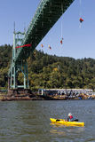 Greenpeace Activists Dangling Over St Johns Bridge with Kayaktiv Royalty Free Stock Photo