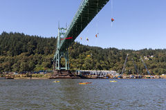 Greenpeace Activists Dangling Over St Johns Bridge with Kayaktiv Stock Photos