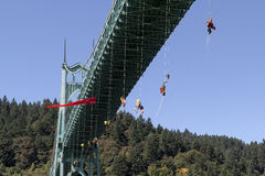 Greenpeace Activists Dangling Over St Johns Bridge Stock Photos