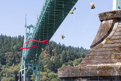 Greenpeace Activists Dangling Over St Johns Bridge with Signage Royalty Free Stock Images