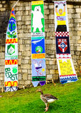Greenpeace banners are displayed - hanging from the medieval wall in the City Of York Royalty Free Stock Photography