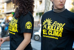 Greenpeace italy and enel. Sicily - April 11: an greenpeace shirt detail . March 11, 2012 in Italy, sicily Stock Images