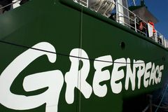 Greenpeace logo on Rainbow Warrior III Royalty Free Stock Photography