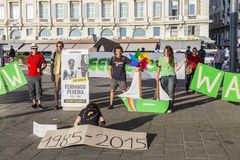Greenpeace organisation protests against murder of Fernando Pere. MARSEILLE, FRANCE, JULY 10, 2015: Greenpeace organisation protests against murder of Fernando Stock Images