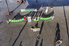 Greenpeace organisation protests against murder of Fernando Pere Royalty Free Stock Images