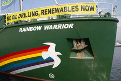 GreenPeace. VALENCIA, SPAIN - JUNE 10, 2014: Greenpeace's vessel the Rainbow Warrior at the Port of Valencia. Greenpeace is a nongovernmental environmental