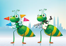 Greens ants. An energetic green ants. Work together as a team Stock Photo
