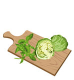 Greens on cutting board Royalty Free Stock Image
