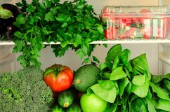 Greens, fruits and vegetables in fridge. Vegan, raw, healthy lifestyle concept Royalty Free Stock Photos