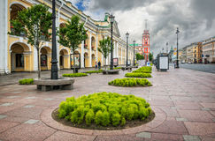 Greens on Nevsky Prospect. Near the Gostiny Dvor in St. Petersburg and the tower of the City Duma in the distance Stock Photos