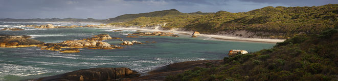 Greens Pool Panoramic. A popular swimming destination called Greens Pool near Denmark, Western Australia Stock Image