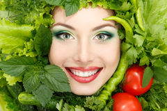 Greens vegetables frame woman beauty face