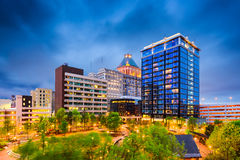 Greensboro, North Carolina. USA downtown city park and skyline royalty free stock image