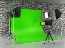 Greenscreen-Studioeinrichtung Stockfoto