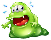 A greenslime monster escaping. Illustration of a greenslime monster escaping on a white background Royalty Free Stock Photos
