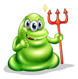 A greenslime monster holding the sign of death Stock Image