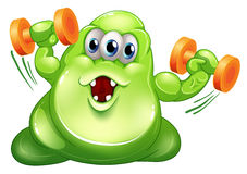 A greenslime monster with orange dumbbells. Illustration of a greenslime monster with orange dumbbells on a white background Stock Photos