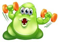 Greenslime potwór z pomarańczowymi dumbbells Zdjęcia Stock