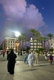 Greensquare in Tripoli by night, Libya. A view on greensquare in Tripoli by night, Libya Royalty Free Stock Photos