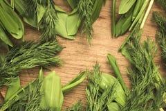 Greenstuff. On a cutting board Stock Photos