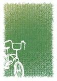 Greensward and white bicycle. Royalty Free Stock Photo