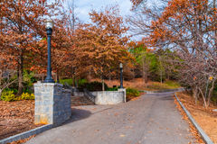 Greensword Path and stairs in Piedmont Park, Atlanta, USA. Greensword Path and the stairs to the Welcome Plaza in the Piedmont Park in sunny autumn day, Atlanta Royalty Free Stock Photos