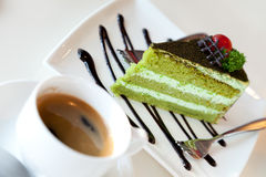 Greentea cake and  coffee Royalty Free Stock Photo