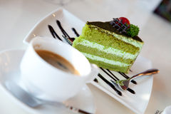 Greentea cake and  coffee Royalty Free Stock Photography