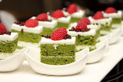 Greentea cake with fresh raspberry Royalty Free Stock Image