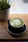 Greentea matcha latte on saturday. Royalty Free Stock Image
