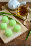 Greentea mochi flavored with bean filling and cup of tea on wood Stock Images