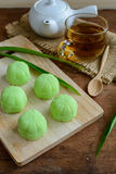 Greentea mochi flavored with bean filling and cup of tea Royalty Free Stock Photo