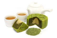 Greentea Mooncake With Teacup And Teapot Royalty Free Stock Photos