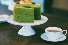Greentea Tortowa i Czarna herbata Fotografia Stock