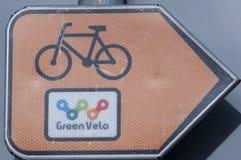 GreenVelo sign. Orange green velo sign. Turn right Stock Photography